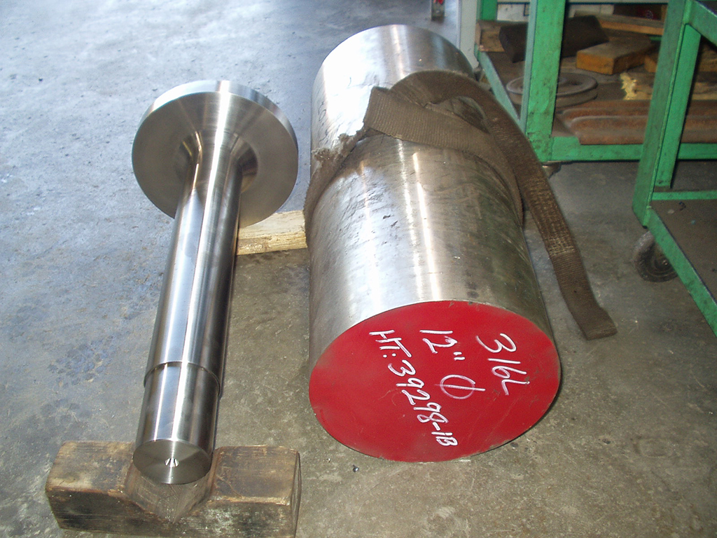 mixer shaft machined from solid 316 stainless steel