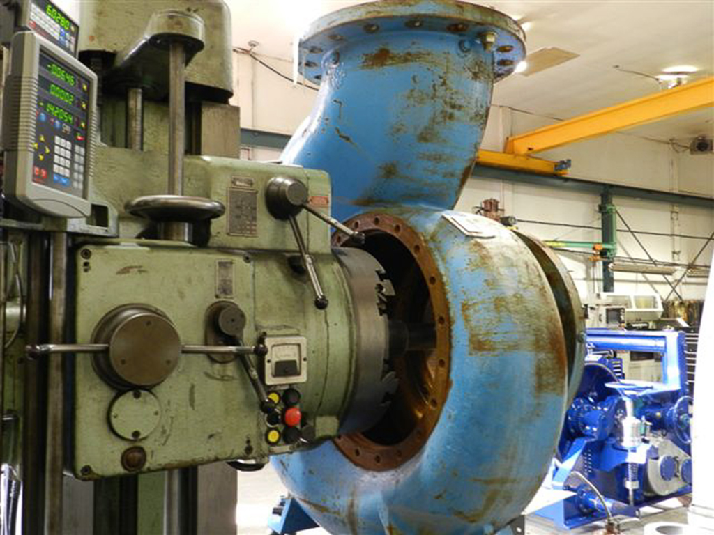 repairing centrifugal pump housing on boring mill