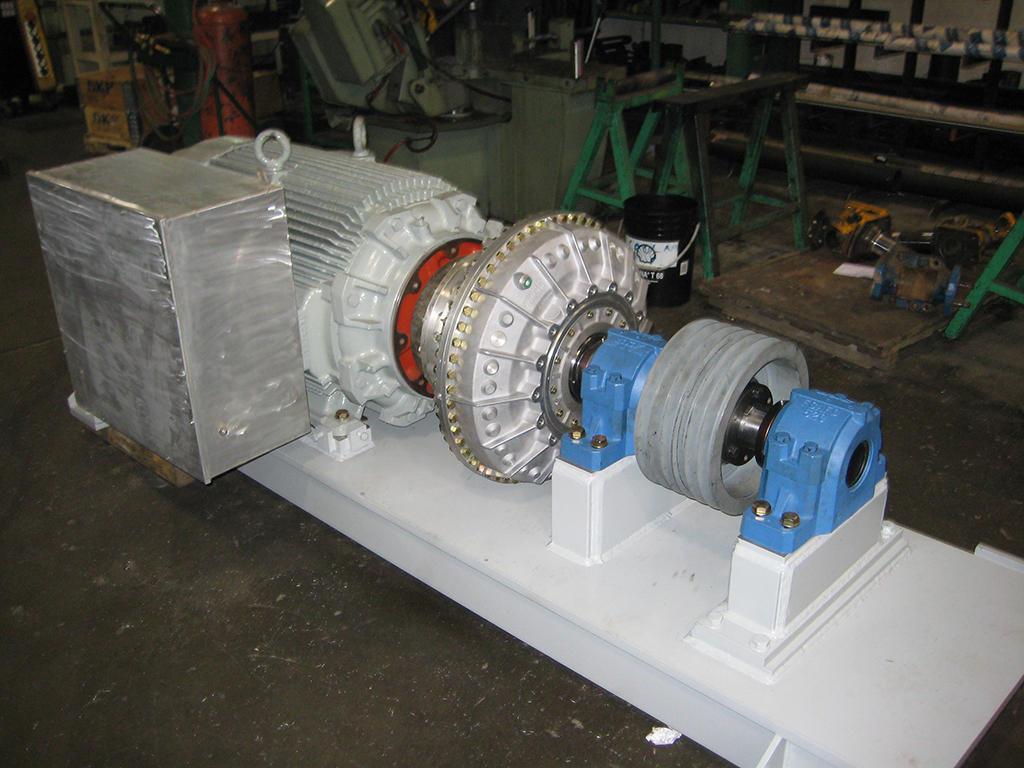electric motor base with viscous coupling