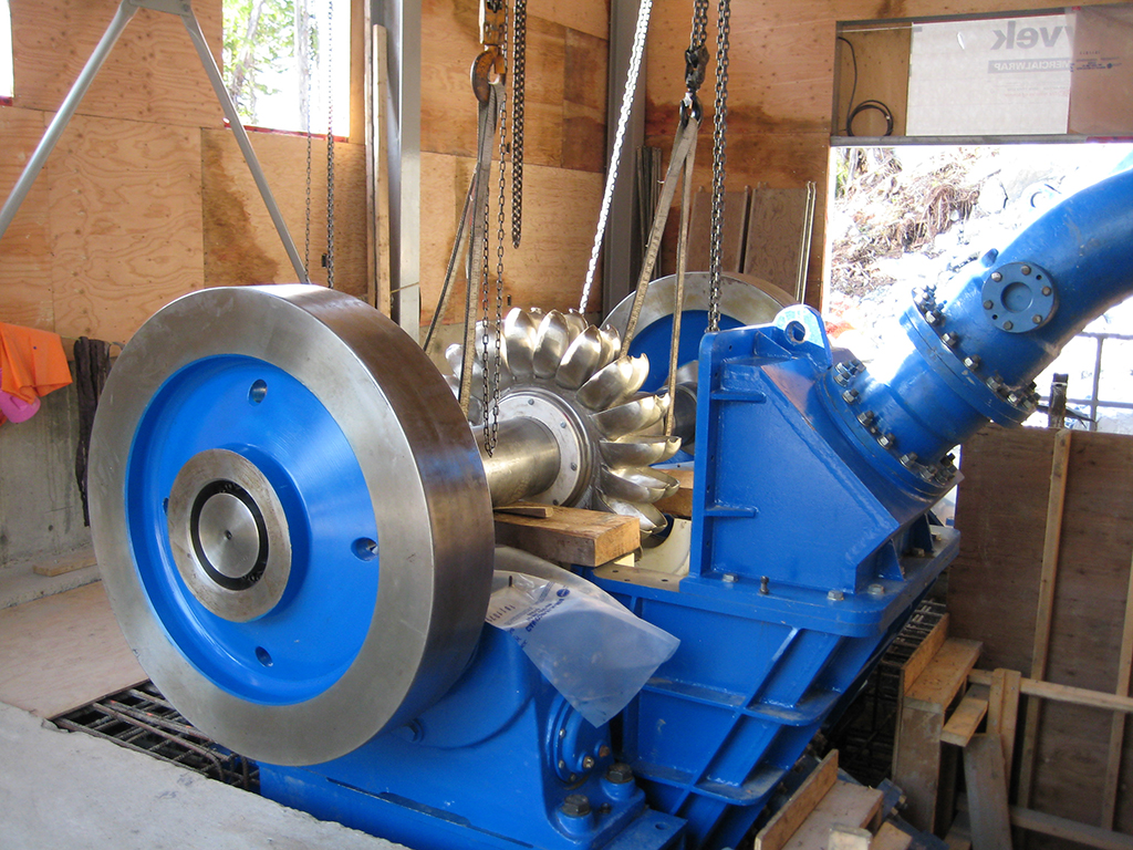 hydroelectric pelton wheel installation