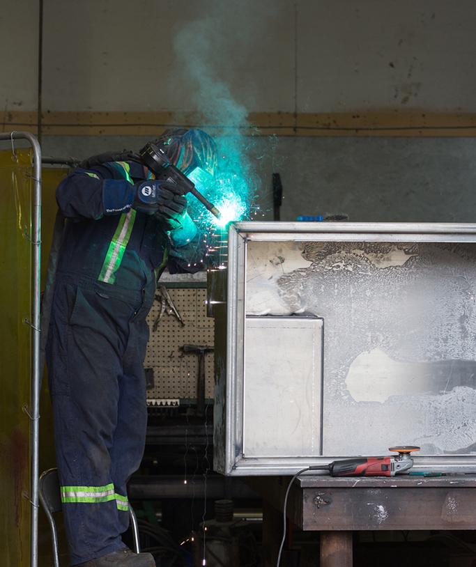 Welding an aluminum cabinet
